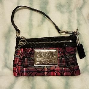 Coach Poppy Pink Plaid Tartan Wristlet